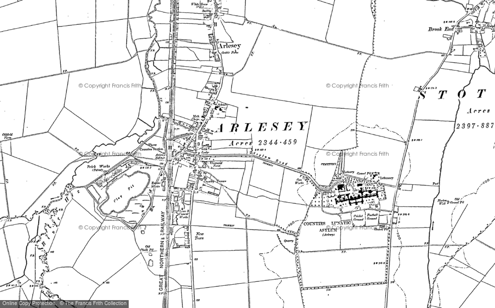 Map of Arlesey, 1900