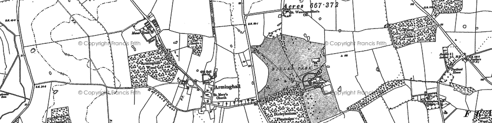 Old map of Arminghall in 1881