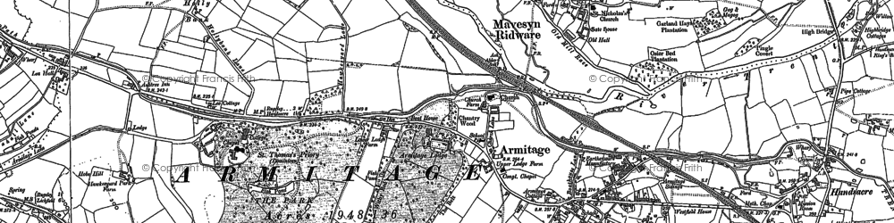 Old map of Armitage in 1882