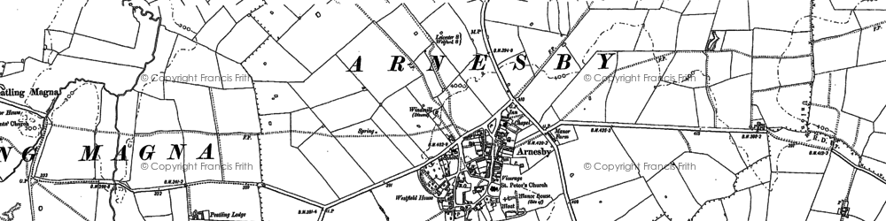 Old map of Arnesby in 1885