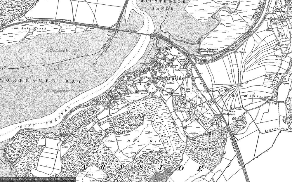Old Map of Historic Map covering Ash Meadow in 1912
