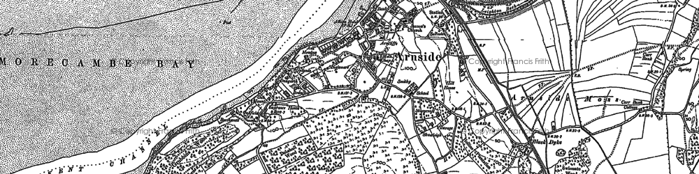 Old map of Arnside in 1912