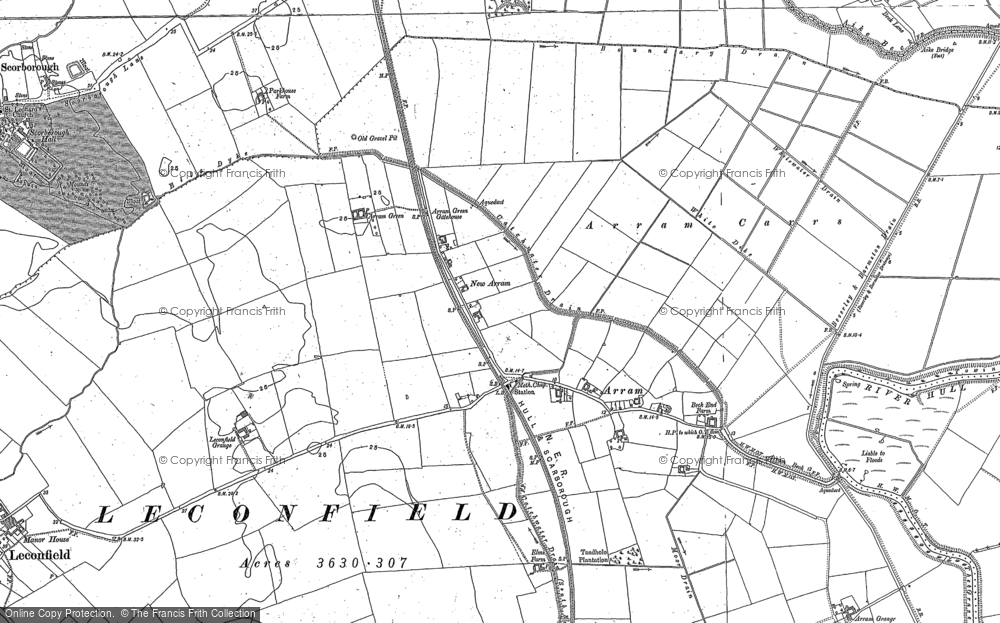 Old Map of Historic Map covering Leconfield Low Parks in 1850
