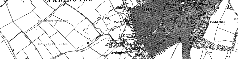 Old map of Arrington in 1886