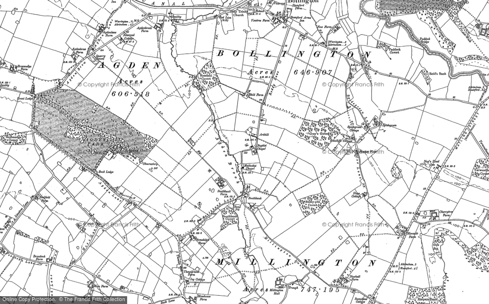 Old Map of Historic Map covering Agden Brow in 1897