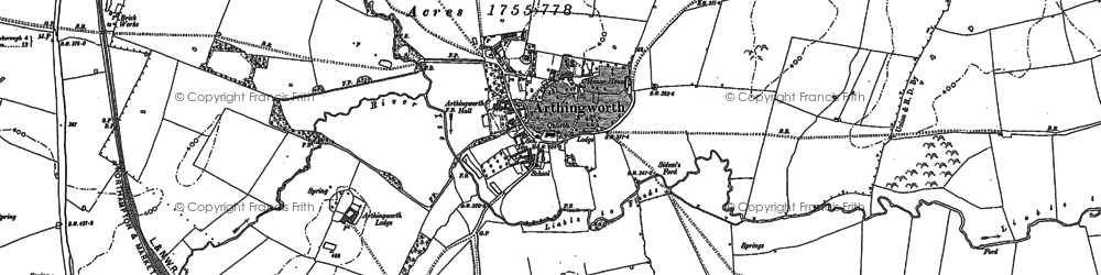 Old map of Arthingworth Lodge in 1884