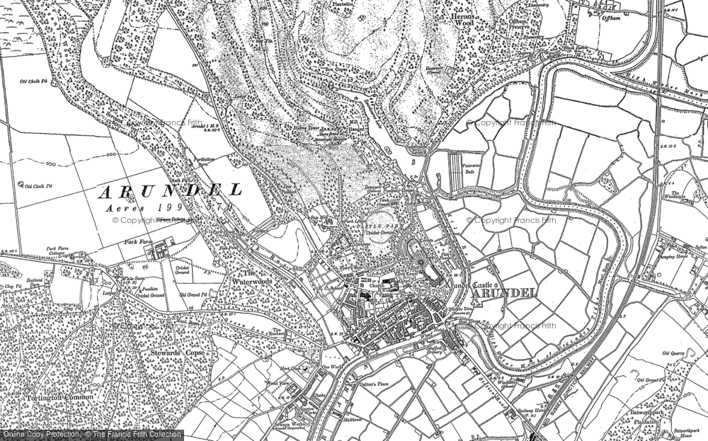 Old Map of Historic Map covering Arundel Park in 1875