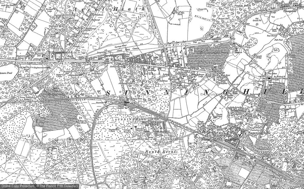 Old Map of Historic Map covering Ascot Heath in 1898