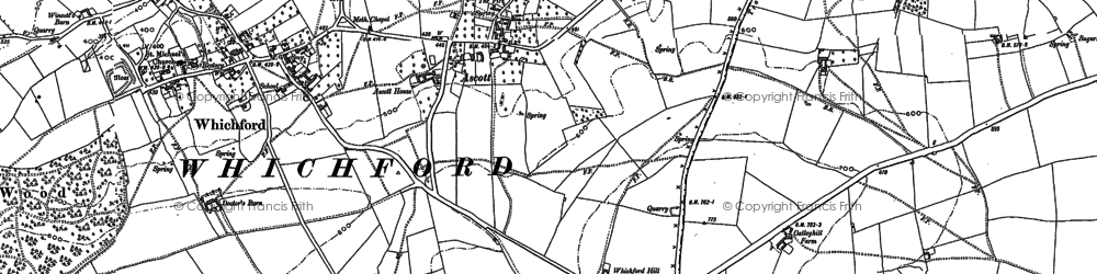 Old map of Ascott in 1898
