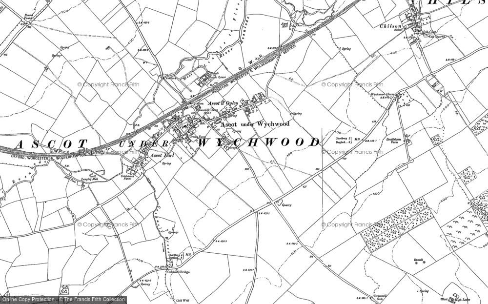Map of Ascott-under-Wychwood, 1898