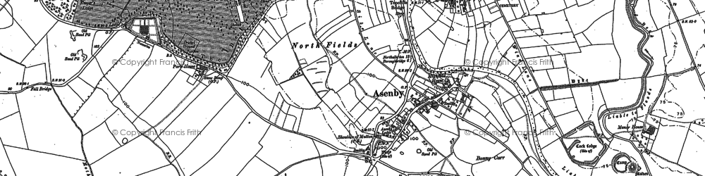 Old map of Asenby in 1890