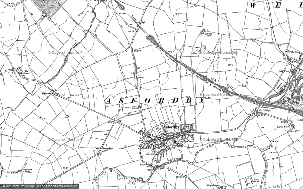 Old Map of Asfordby, 1884 in 1884