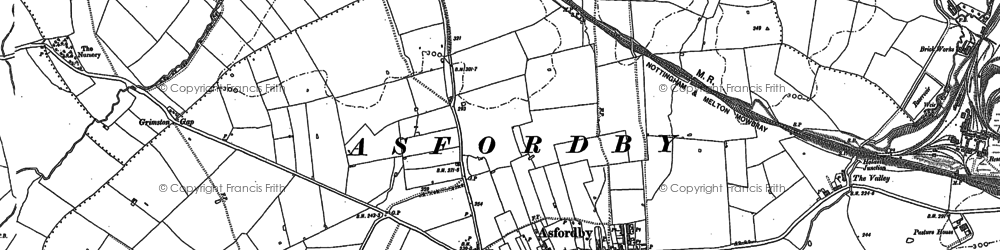 Old map of Asfordby in 1884