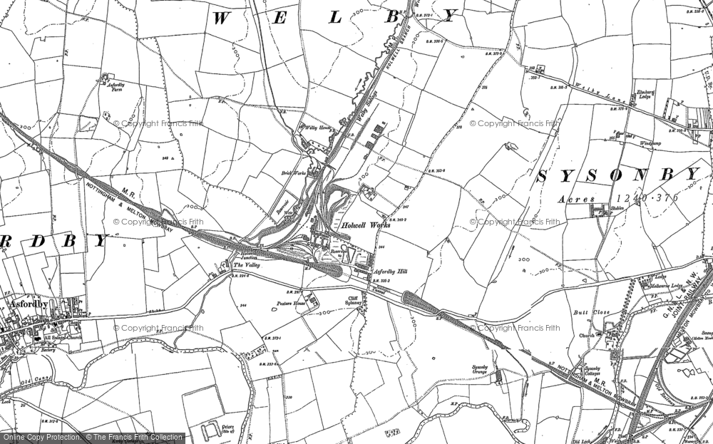 Old Map of Asfordby Hill, 1884 - 1902 in 1884
