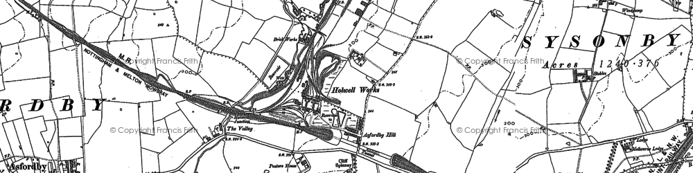 Old map of Asfordby Hill in 1884