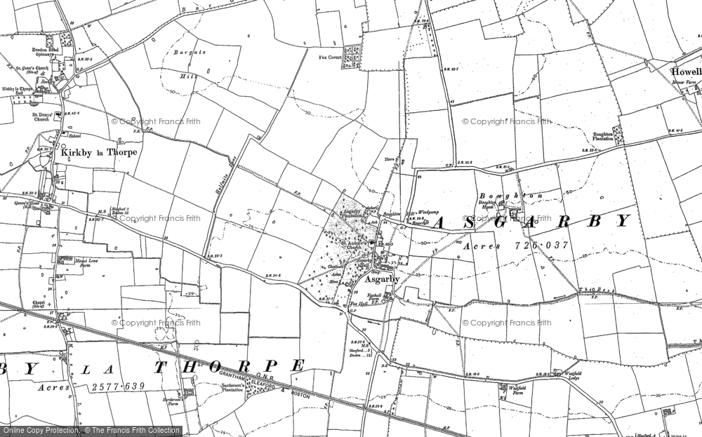 Old Map of Asgarby, 1887 in 1887