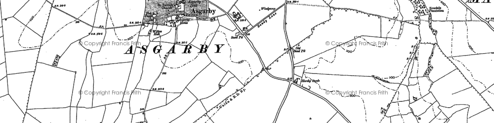 Old map of Asgarby in 1887