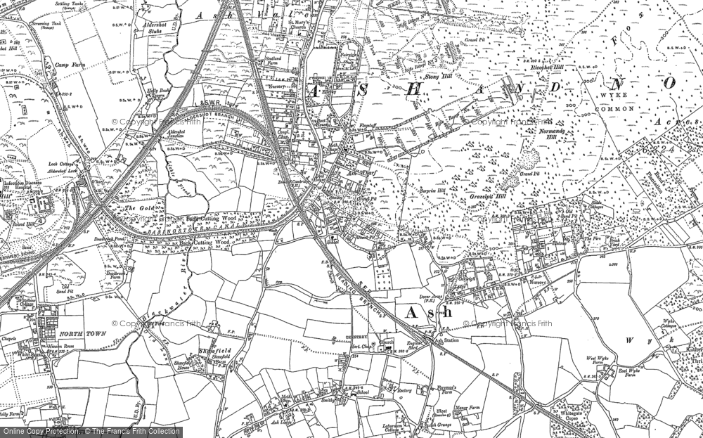 Old Map of Historic Map covering Ash Common in 1895