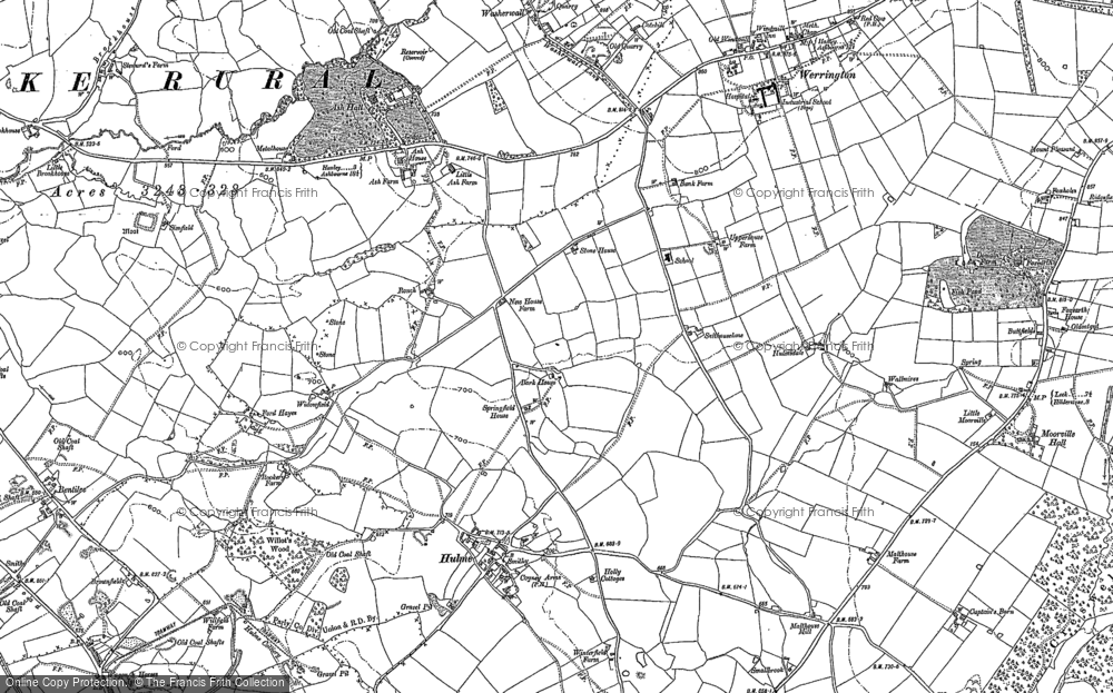 Old Map of Historic Map covering Abbey Hulton in 1879