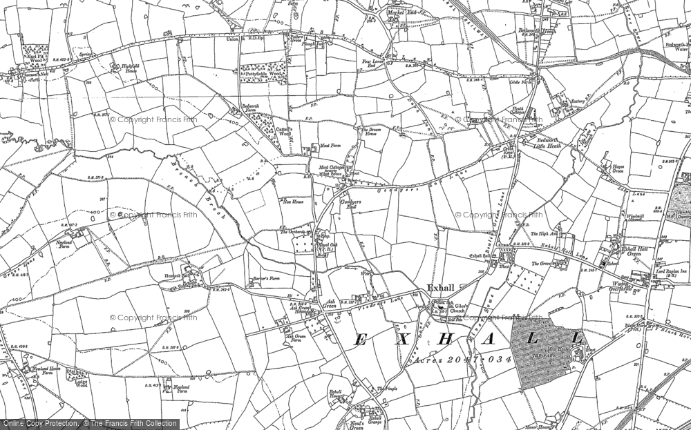 Old Map of Ash Green, 1887 in 1887