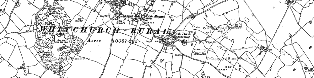 Old map of Ash Magna in 1879
