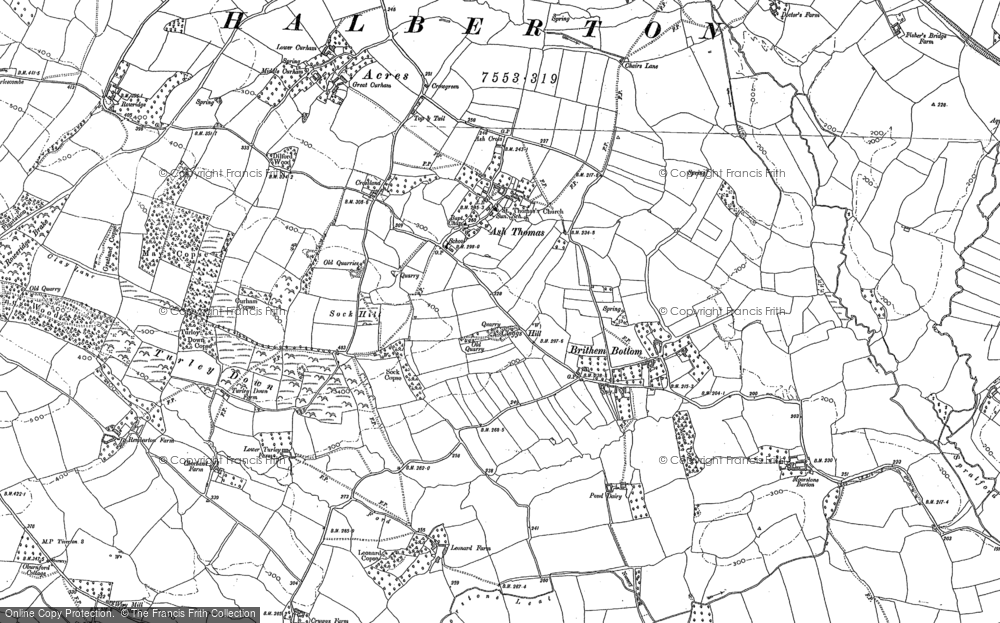 Old Map of Ash Thomas, 1886 - 1887 in 1886