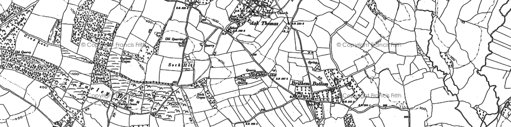 Old map of Ash Thomas in 1886