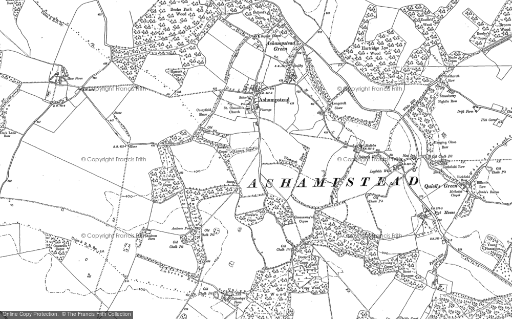 Old Map of Historic Map covering Ashampstead Green in 1898