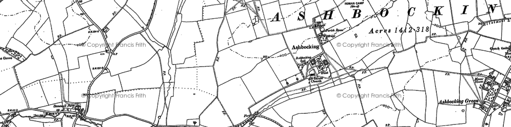 Old map of Ashbocking Hall in 1882