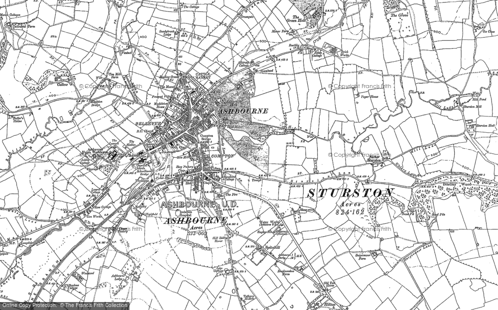 Old Map of Historic Map covering Ashbourne Green in 1880