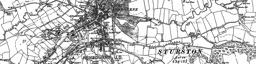 Old map of Ashbourne in 1880