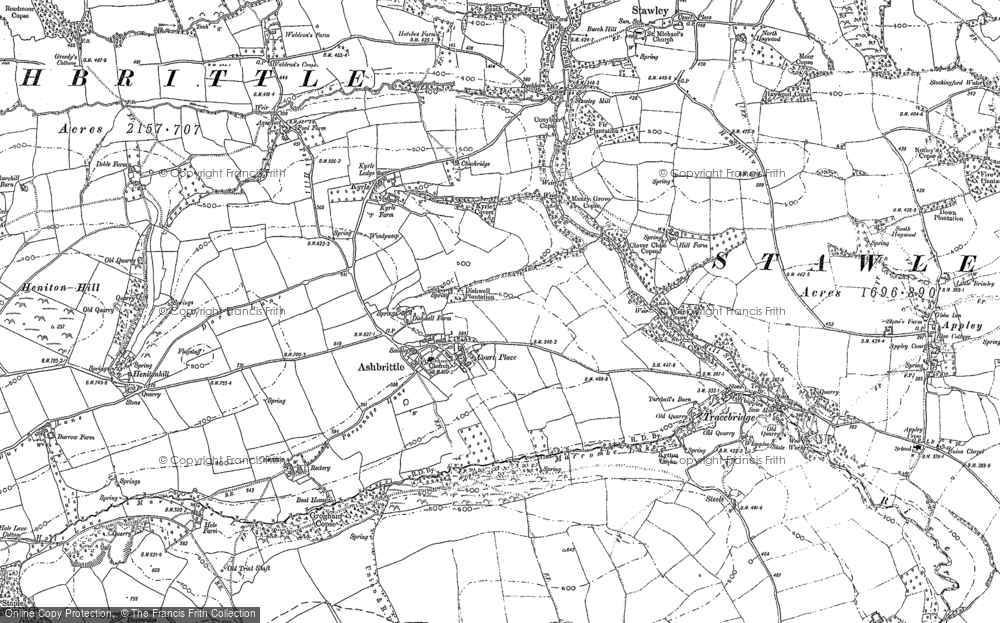 Old Map of Ashbrittle, 1887 - 1903 in 1887