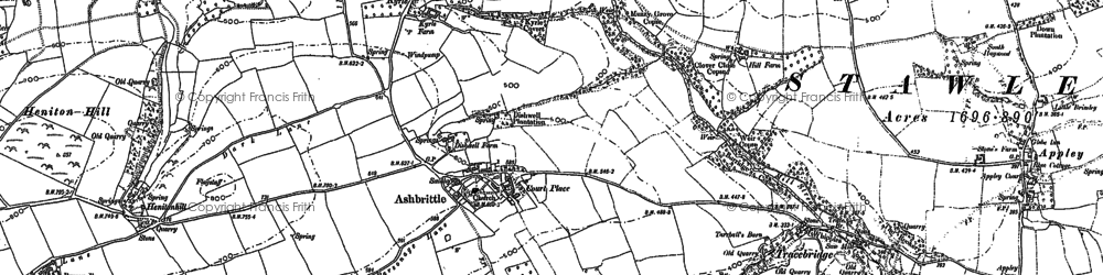 Old map of Ashbrittle in 1887