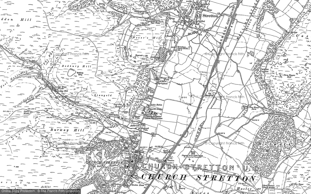 Old Map of Historic Map covering Woodnall in 1882