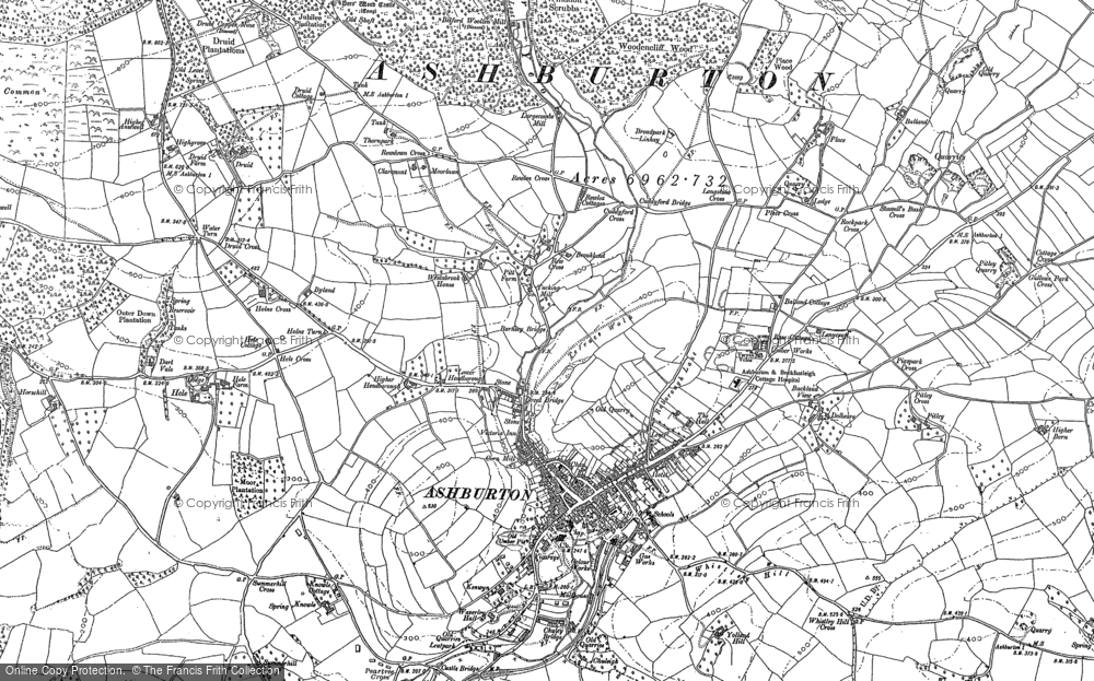 Old Map of Ashburton, 1885 - 1886 in 1885