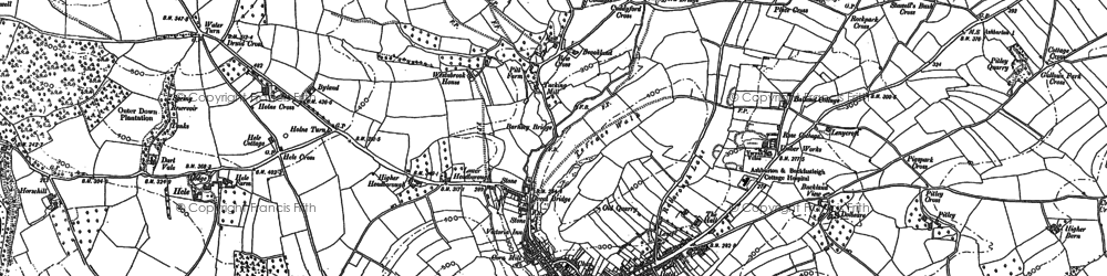 Old map of Ashburton in 1885