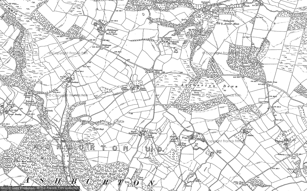 Old Map of Ashburton Down, 1885 in 1885