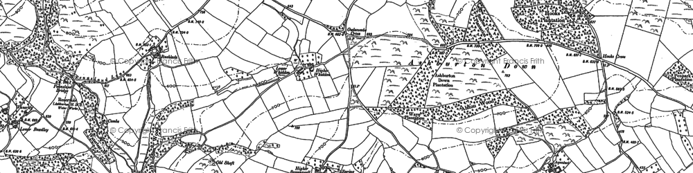 Old map of Ashburton Down in 1885