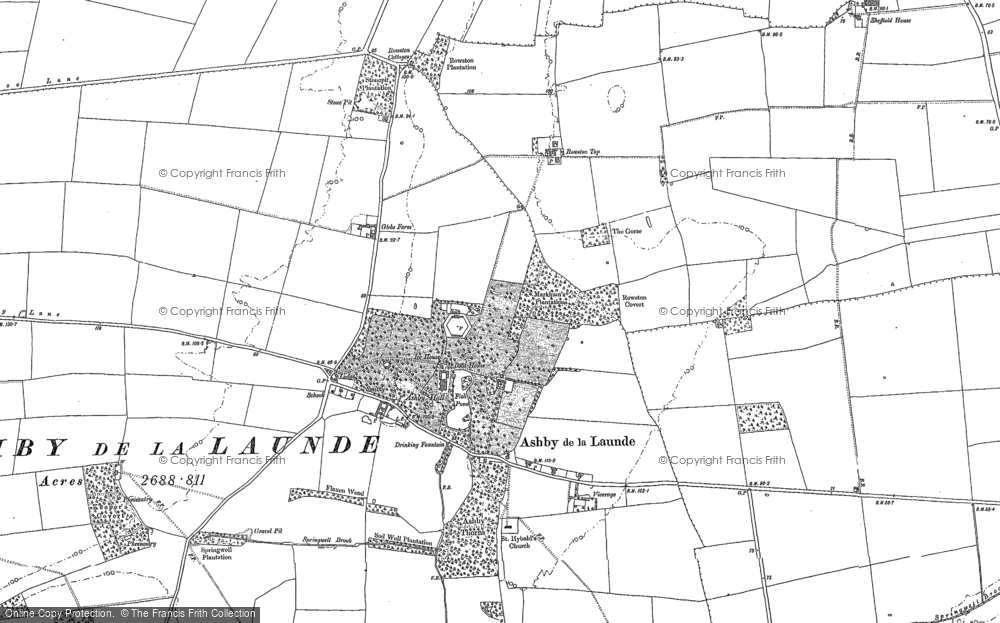 Old Map of Historic Map covering Ashby Lodge in 1887
