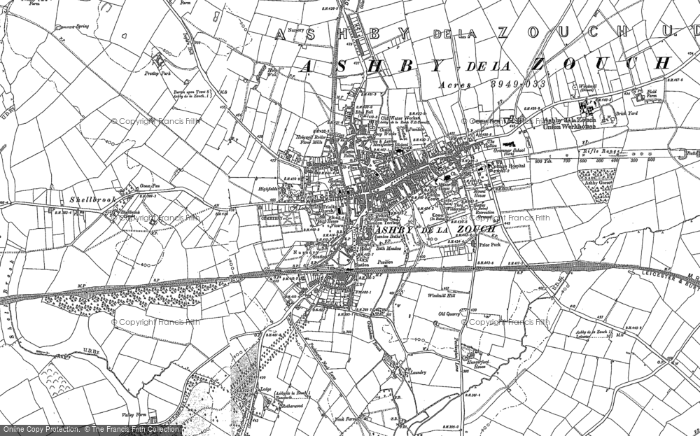 Old Map of Ashby-de-la-Zouch, 1901 in 1901