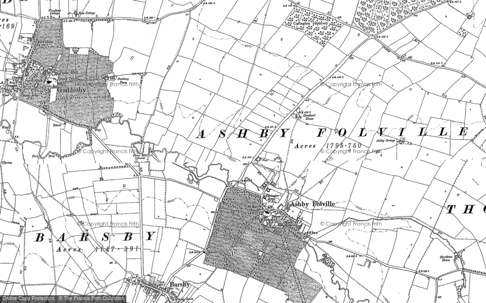 Old Map of Historic Map covering Ashby Pastures in 1884