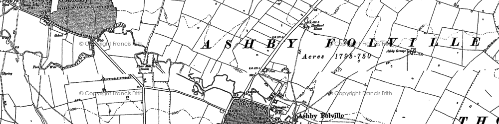 Old map of Ashby Folville in 1884