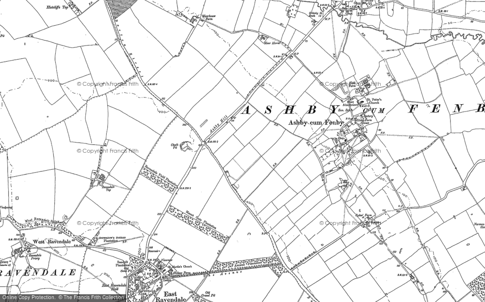 Old Map of Historic Map covering Ashby cum Fenby in 1887