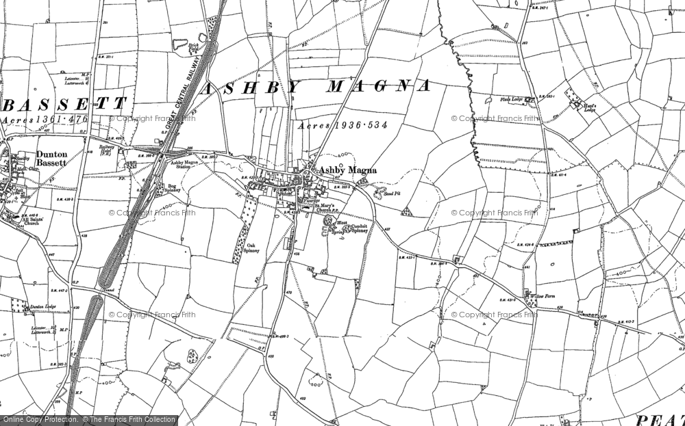 Old Map of Ashby Magna, 1885 - 1901 in 1885