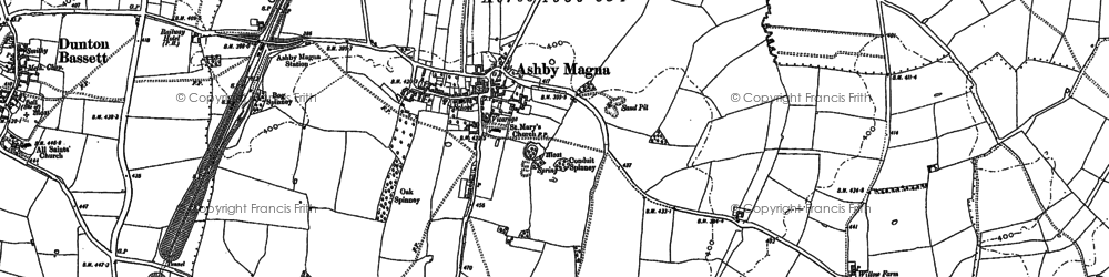 Old map of Ashby Magna in 1885