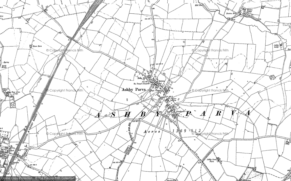 Old Map of Ashby Parva, 1898 - 1923 in 1898