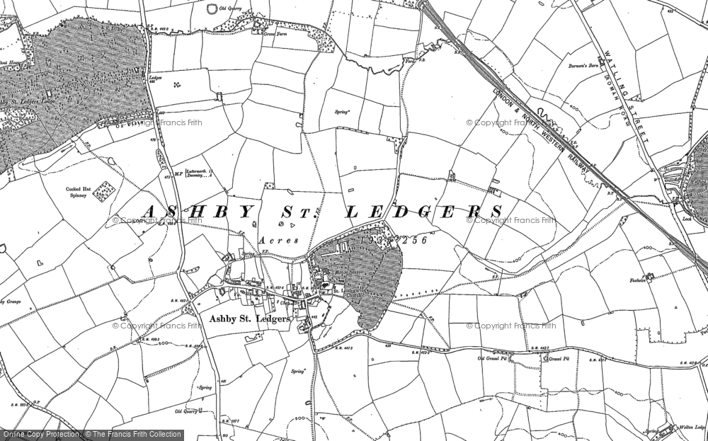 Old Map of Historic Map covering Ashby Grange in 1884