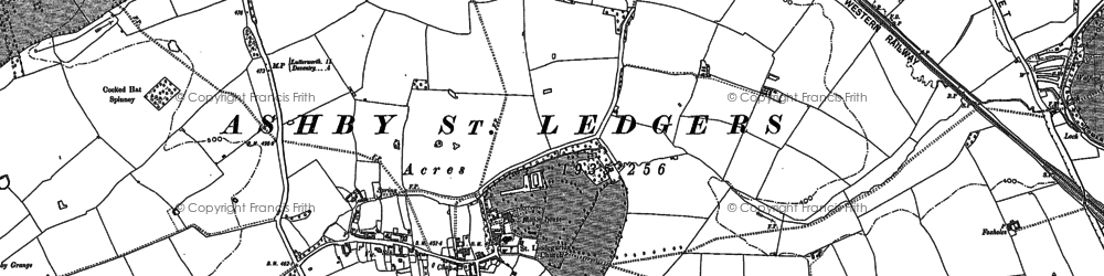 Old map of Ashby St Ledgers in 1884