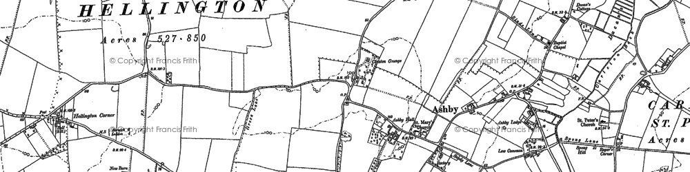 Old map of Ashby St Mary in 1881