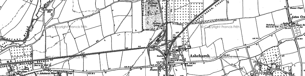 Old map of Ashchurch in 1900
